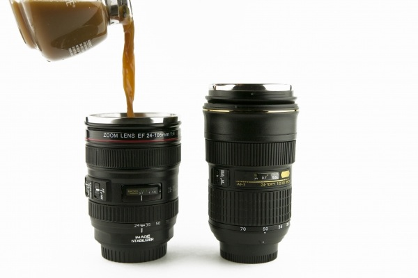 Camera lens mugs nikon or canon for Photo lens coffee cup