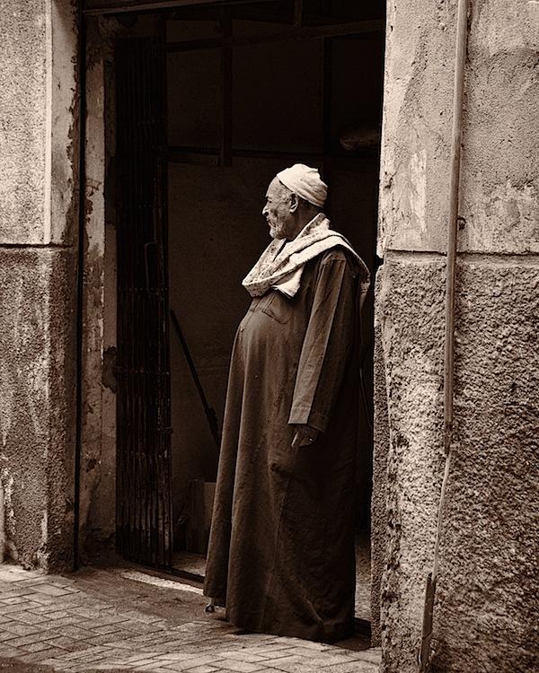 Everyday Life - Old Man in Doorway in Alexandria, Egypt - Copyright 2010 Ralph Velasco.jpg
